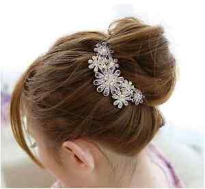 Flower-Diamond-Hair-Comb-Prom-Party-Wedding-Bridal-Hair-Clip-Silver-Gold-TA