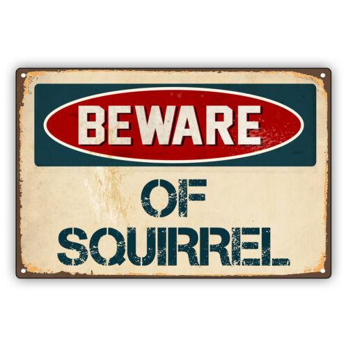 Beware of Squirrel Vintage Retro Alert Caution Warning Aluminum Metal Sign