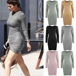 Womens-Ladies-Plain-Suede-Long-Sleeve-Round-Neck-Pencil-Party-Bodycon-Mini-Dress