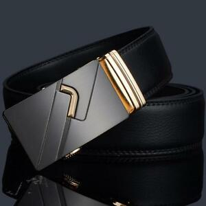 Men-039-s-Genuine-Leather-Automatic-Buckle-Belts-Gold-Waist-Strap-Belt-Waistband-Hot