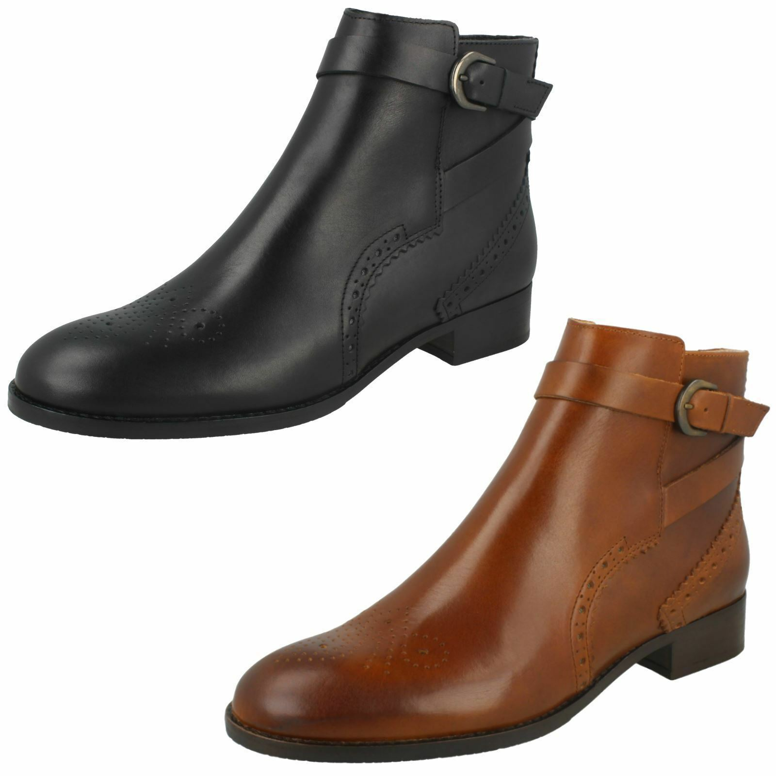 Grandes zapatos con descuento Ladies Clarks Netley Olivia Black Or Tan Leather Smart Ankle Boots