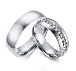 Anello-Anelli-Coppia-Fedi-Fede-Fedine-Fidanzamento-Acciaio-Cristallo-Paio-Regalo