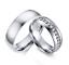 Anello-Anelli-Coppia-Fedi-Fede-Fedine-Fidanzamento-Acciaio-Cristallo-Paio-Regalo miniatura 1