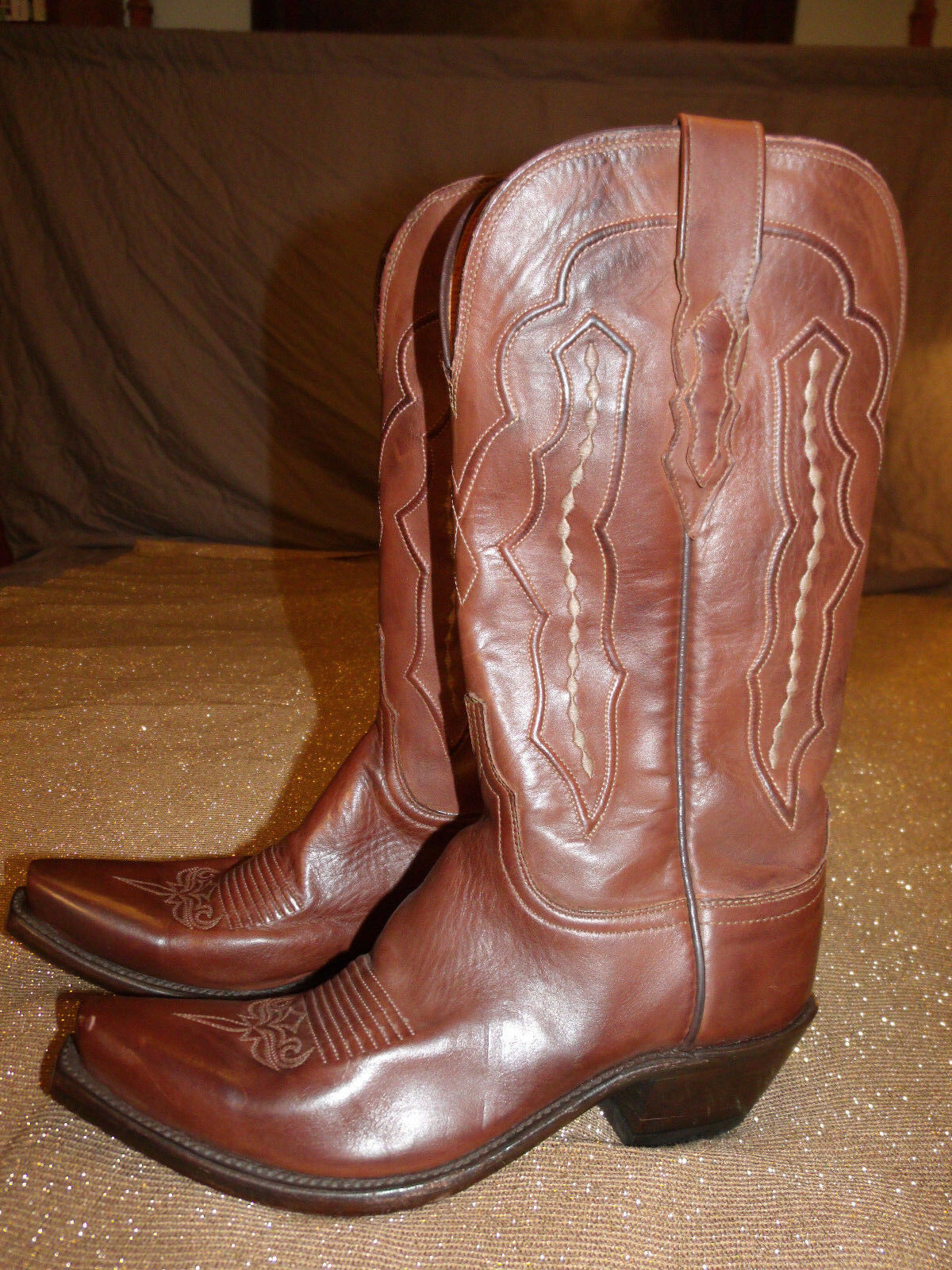 Lucchese Classics M5004.S54 Donna Grace-Tan Ranch Hand Riding Boots size 7.0B