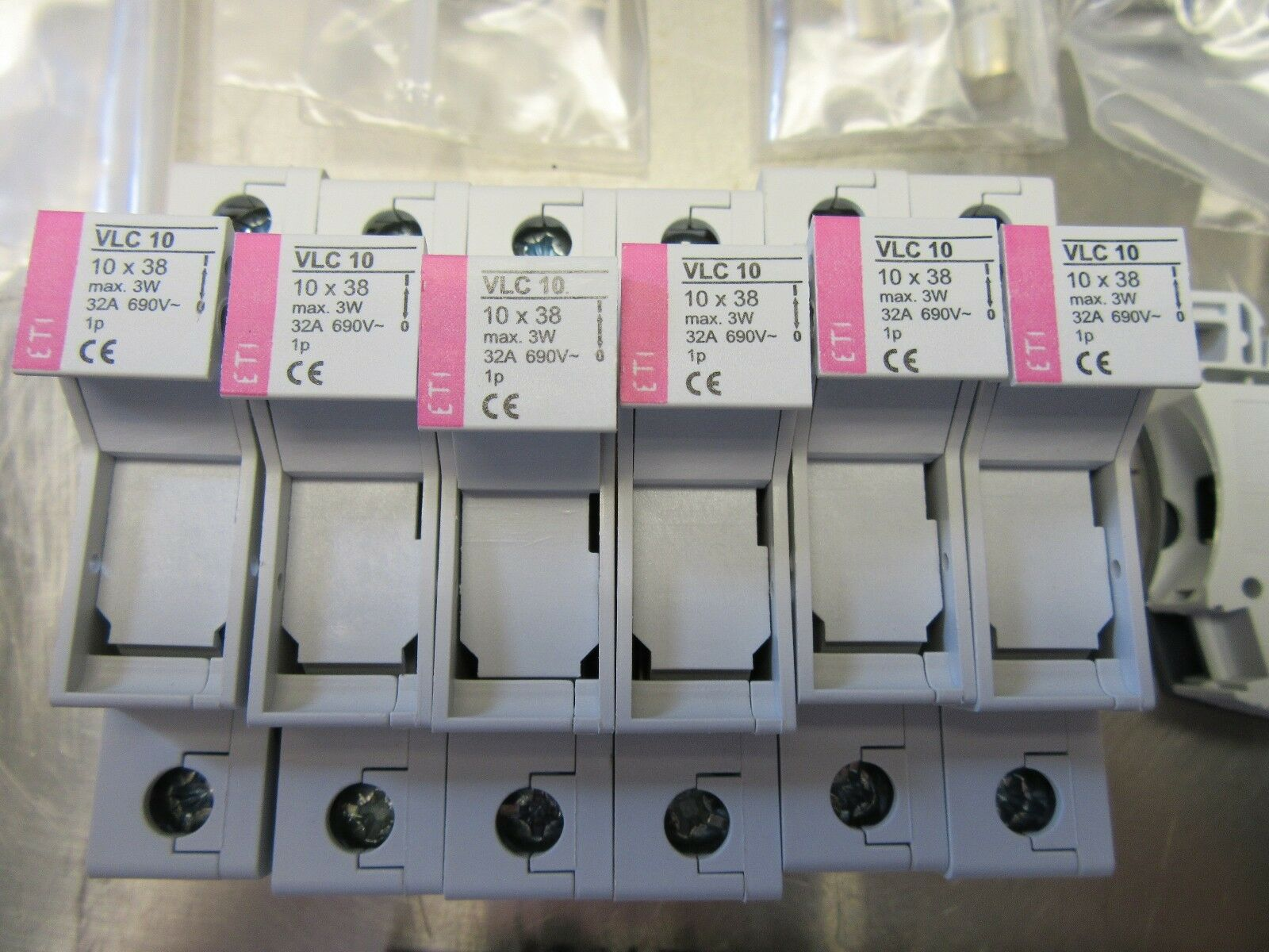 Lot of 6 ETI VLC10x38 Fuse Links PSB1020508 with Fuses 16A 32A 6A