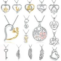Women's Jewelry European 925 Love Heart Silver Charms Pendant Necklace Chain