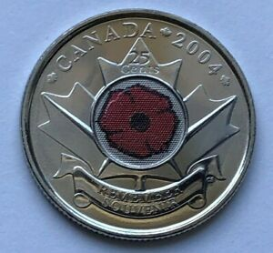 2004 Poppy 25 Cents Unc From Mint Roll Bu Canadian Quarter Canada Coin Ebay