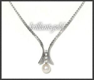 Diamant-und-Perlen-Collier-mit-0-12ct-Brillanten-aus-585-Gold-Weissgold-Kette