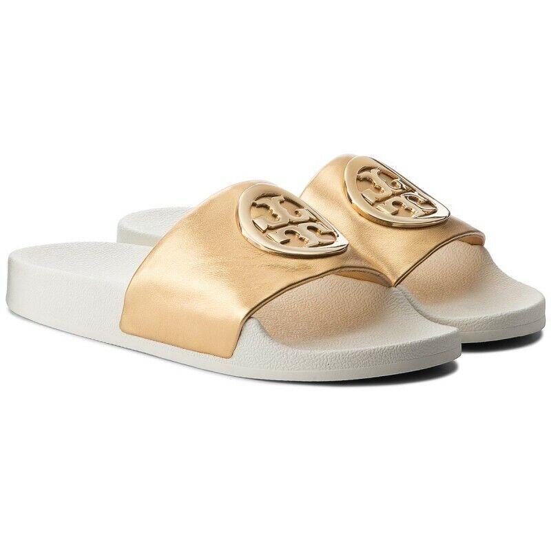 NIB Tory Burch Lina oro  Leather Logo Slide Sandal Sz 5  punto vendita