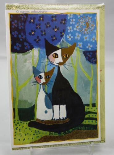 Doppelkarte CAT Rosina WACHTMEISTER Katze Romance Klappkarte Kunstkarte