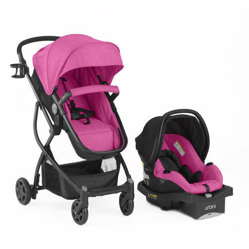 Baby Stroller Car Seat 3 in 1 Travel System Infant Carriage Buggy Pink Bassinet