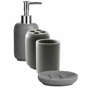 Image Is Loading 4 Piece Grey Stone Bathroom Accessory Set Tumbler