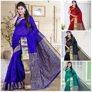 Bollywood Indian Saree Cotton Party Wear Designer Zari Work Sari Ethnic Dress