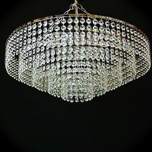 50cm chrome lead crystal chandelier ceiling light fitting lighting image is loading 50cm chrome lead crystal chandelier ceiling light fitting aloadofball Image collections