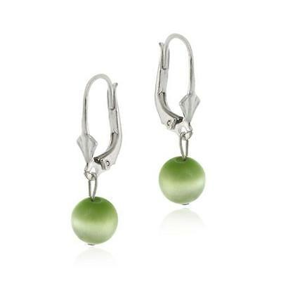 .925 Silver Green Cats Eye Dangling Leverback Earrings