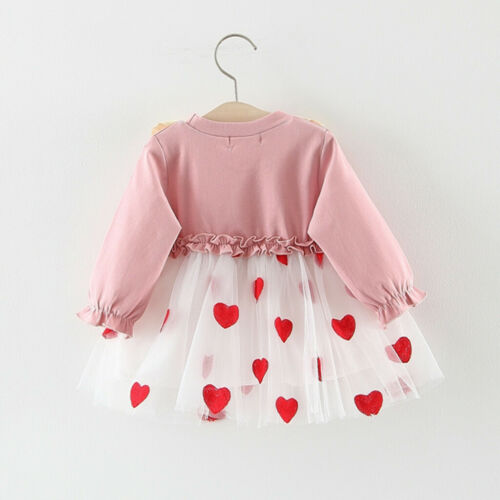 Toddler Baby Girls Long Sleeve Dress Kids Princess Pageant Party Tutu Dresses A5