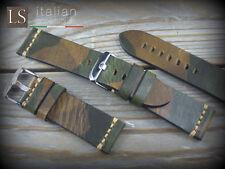 Cinturino in Pelle Bufalo Vintage ILLINOIS 24 mm Watch Strap Band Camo