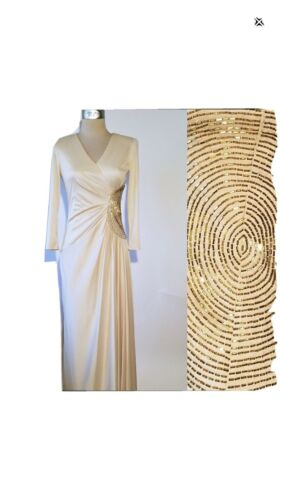 Vintage ESTEVEZ Cream Gold Dress