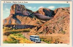 Guadalupe-Mountains-National-Park-Texas-Postcard-EL-CAPITAN-Tour-Bus-Linen-1940s