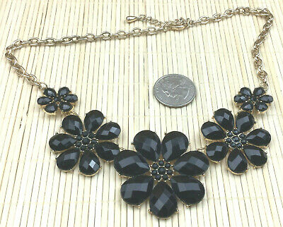 Lux Accessories Faceted Black Stone Floral Bib Flower Necklace