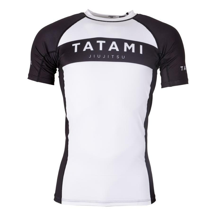 Tatami Originale Rash Guard Bianco Nero uomoica Corta Bjj NoGi Ju Jitsu
