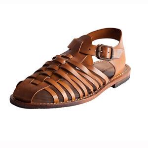Sandali uomo punta chiusa SUOLA CUOIO Made in Italy artigianali chiuso dietro