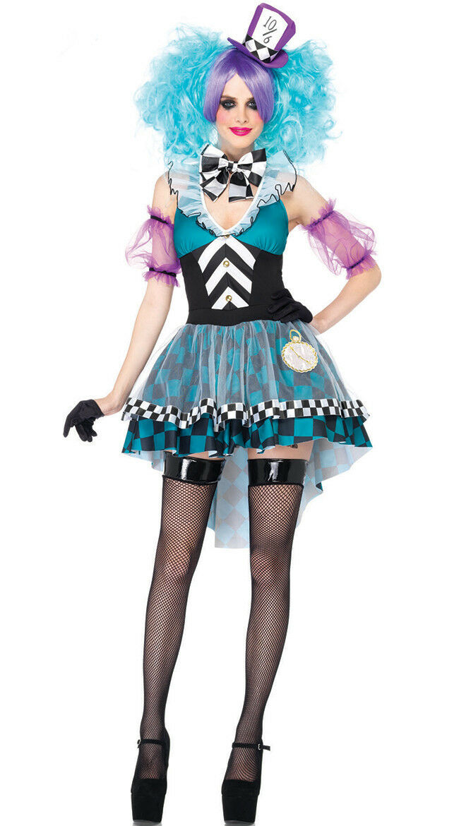 New Manic Mad Hatter Dress Alice in Wonderland Halloween Costume Outfit Women