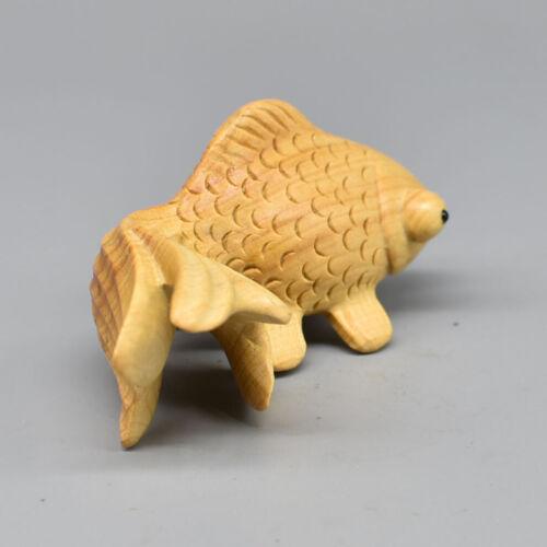 Hand Carved Japanese Boxwood Netsuke Golden Fish Handy Wood Carving Figurine