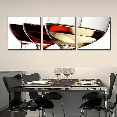 WINE//GLASS ready to hang 3 pc wall art print mounted on MDF//Improved canvas art