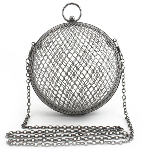 Metal Bags Hollow Out Women Evening Bag Clutch Shoulder Bags Circle Cage Handbag
