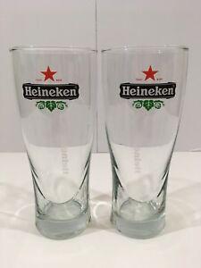 Set-2-Heineken-Pilsner-Beer-Glasses-Red-Star-0-25L-Glasses-Rare-7-5-034-x-3-034