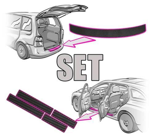 VW POLO 9N Ladekantenschutz Einstiegsleisten SET in 3D CARBON SCHWARZ 5Türer