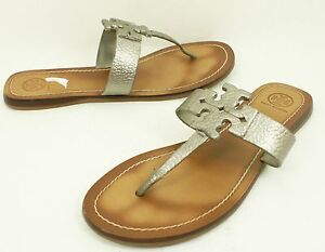 32bd96e5a85d0 TORY BURCH  Moore  Leather Thong Sandal Shoe Pewter Silver 9.5 US
