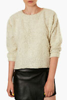 New Ex Topshop Textured Fluffy Cream Wool Mix Jumper Sizes 6 and 10
