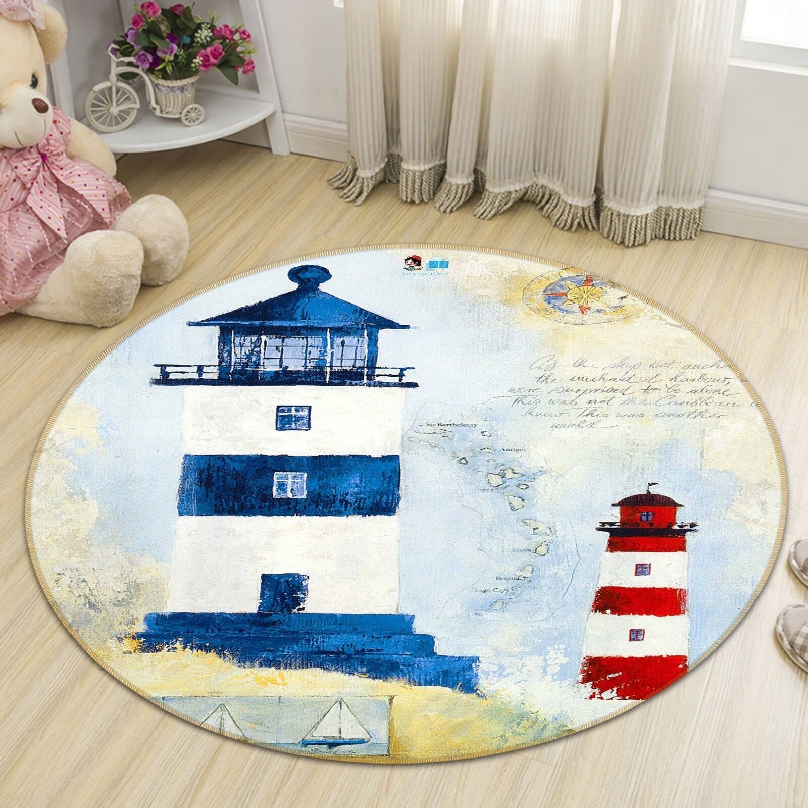 3D Lighthouse 5 Non Non Non Slip Rug Mat Room Mat Round Elegant Photo Carpet US Summer d1e180