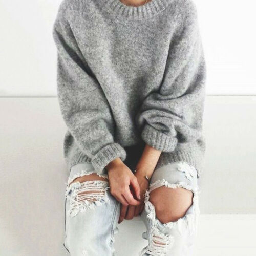 Fashion Women O-neck Long Sleeve Thick Pullover Knit Sweater Loose Top Well