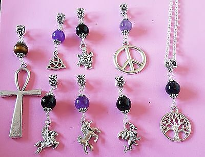 """gemstone pendant charm necklace 20"""" silver plated chain tree of life angel cross"""