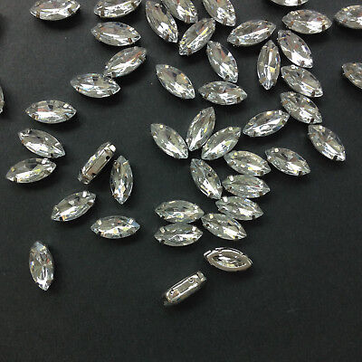 10//50x acrylique sew-on navette strass//perles//bijoux//strass-crystal 2 tailles