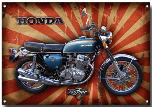 Superbike, Groß A3 Größe Honda Klassisch CB 750 Vier Metall Schild