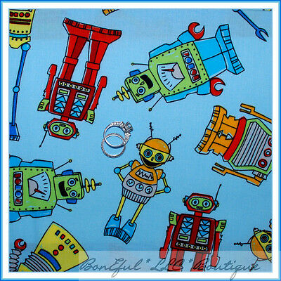 BonEful Fabric Cotton Quilt Blue Red VTG Robot Computer Space Boy Toy LAST SCRAP