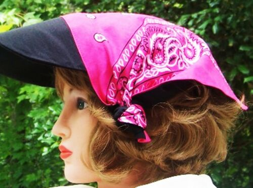 Hat Bandana Hat ® Visor Reversible Fuschia to Black one size fits all New