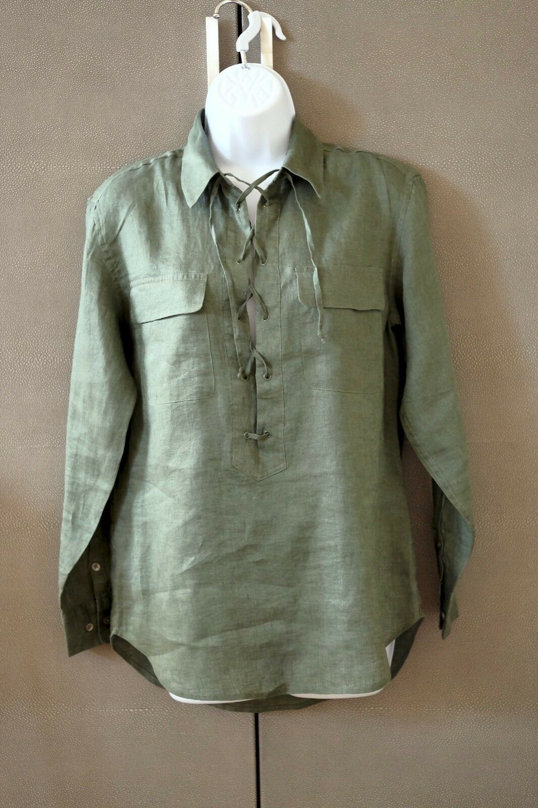 NWT Army Grün Equipment Knox Linen Lace Up Utility Pocket Shirt XS