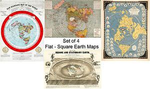 Square Earth Map.Set Of 4 Flat Square Earth Large Wall Maps Orlando Ferguson
