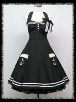 dress190 Black Halter 50's Pinup Rockabilly Vtg Swing Prom/Ball Party Dress 8-24