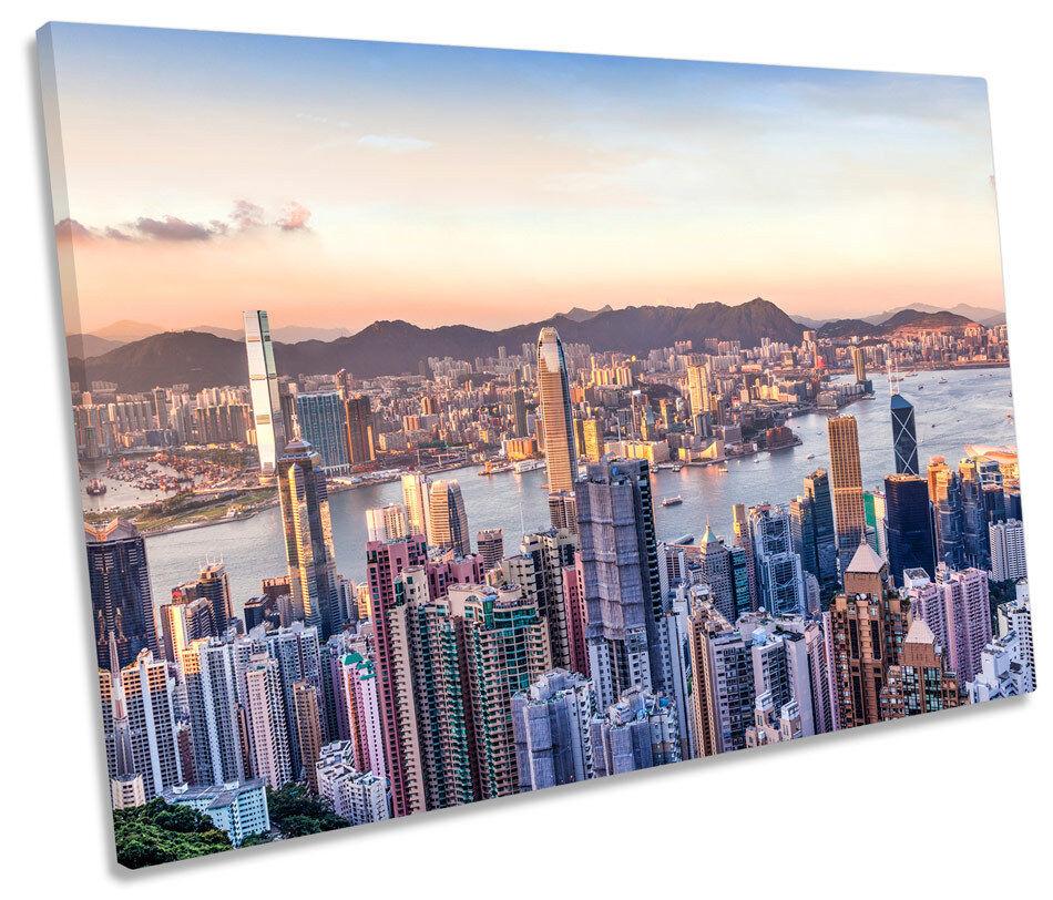 Victoria Harbour Hong Kong CITY tela singola Wall Art Print PICTURE 280gsm