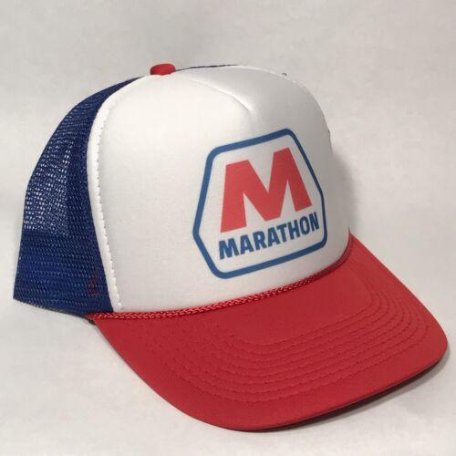 Retro Marathon Gas Öl Truckerhut Baseball Kappe Rot Blau Weiß Rwb