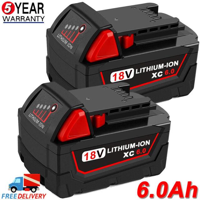 2X For Milwaukee M18B5 5.0Ah 18V Li-Ion Extended Battery 48-11-1850 M18B4 M18B6