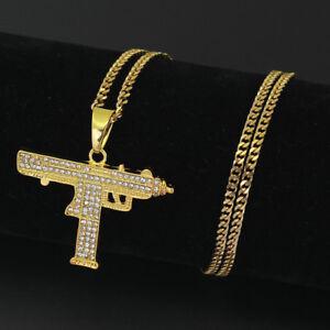 Fashion-Men-039-s-Machine-Gun-Crystal-Stainless-Steel-Pendant-Chain-Hip-Hop-Necklace
