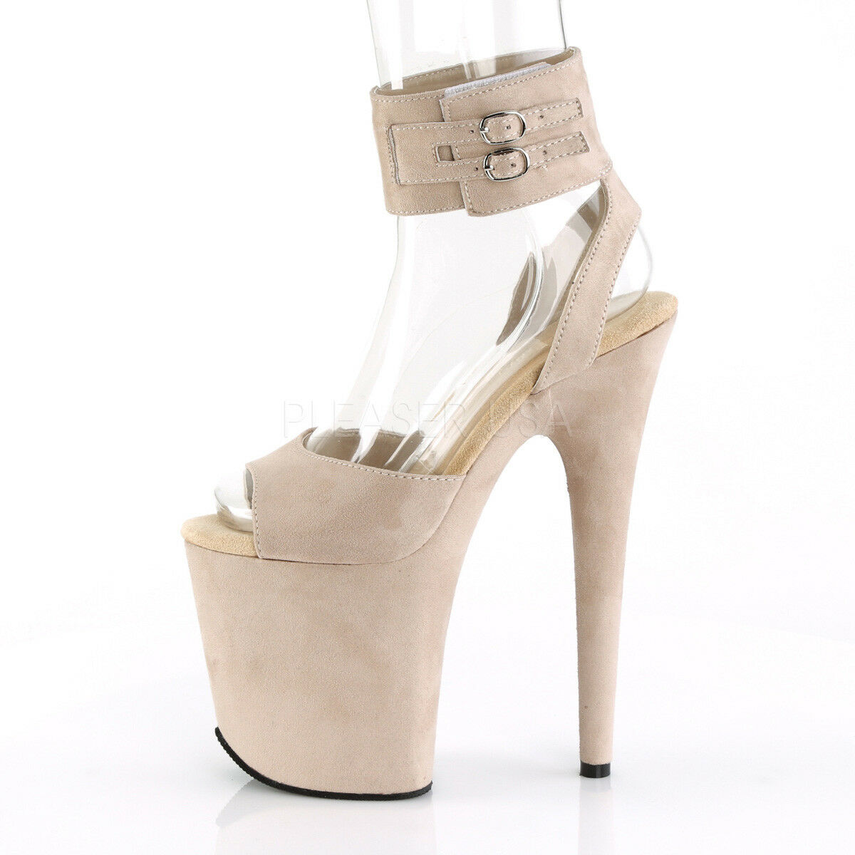 Flamingo 891 Nude Vegan Suede 8 8 8  High Heel Platform schuhe With Ankle Cuff 5-12 879f8c