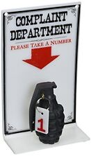Complaint Department Sign - Wall Mount or Desk Display Durable Cast Grenade